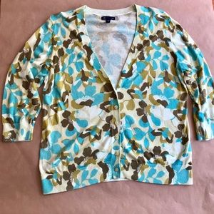 Gap Cropped Sleeve Floral Cardigan- XL